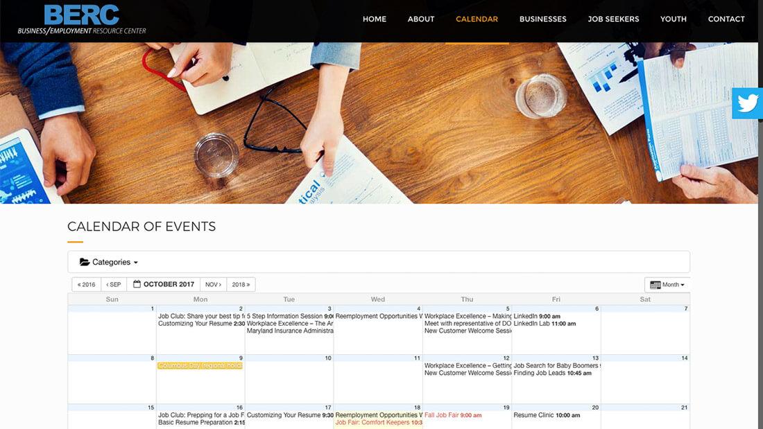 BERC Carroll County online calendar web development | Web Design Westminster, MD