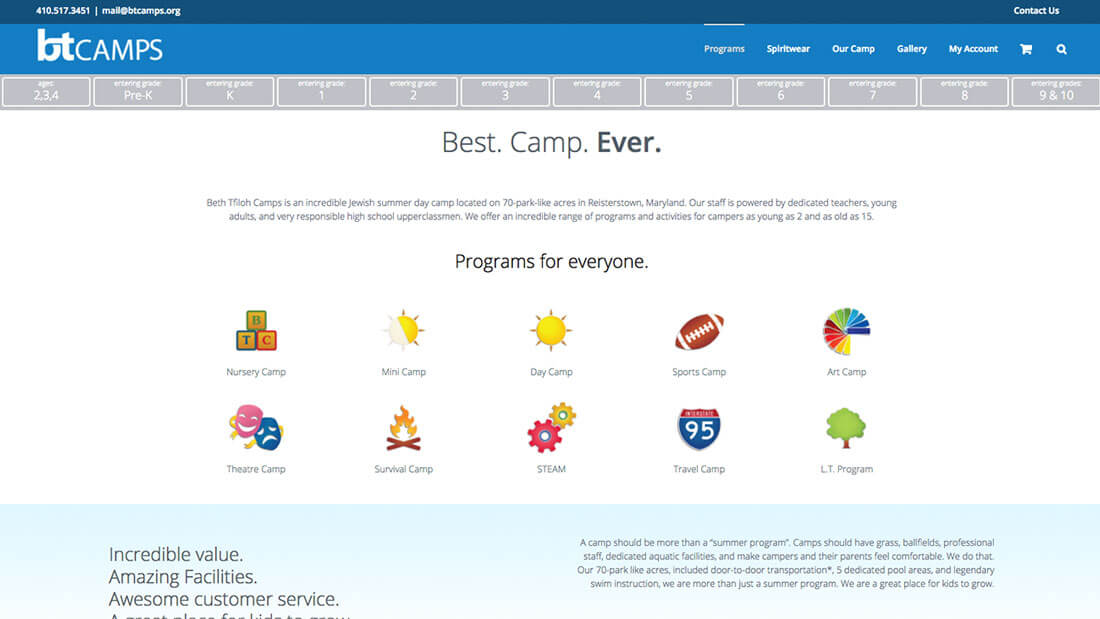 BT Camps programs desktop modern website design | Web Design Maryland