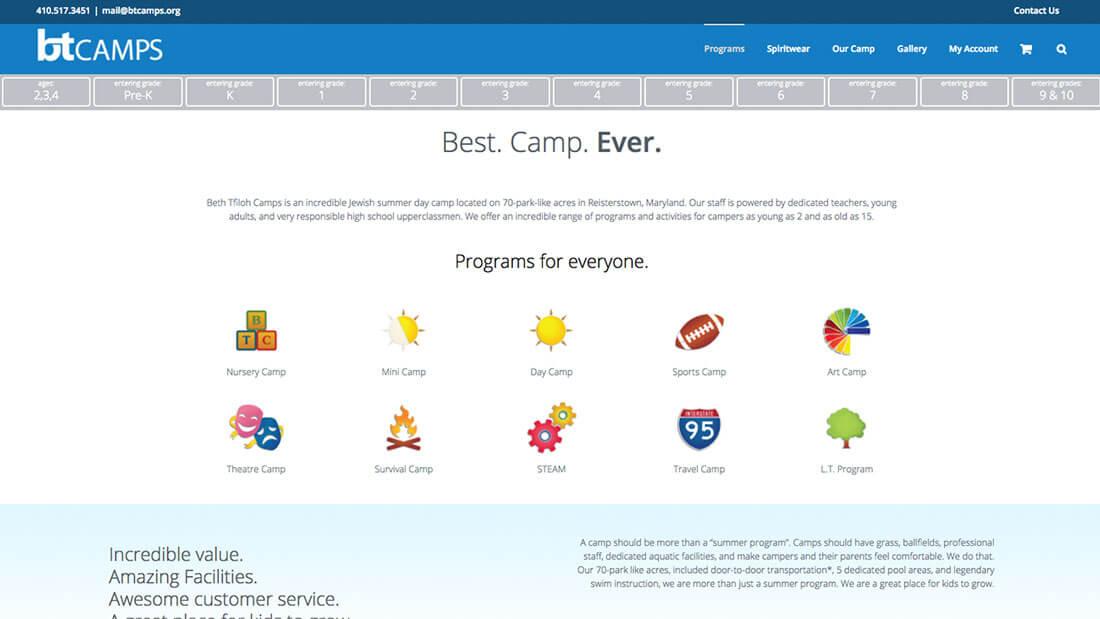 BT Camps programs desktop modern website design | Web Design Maryland