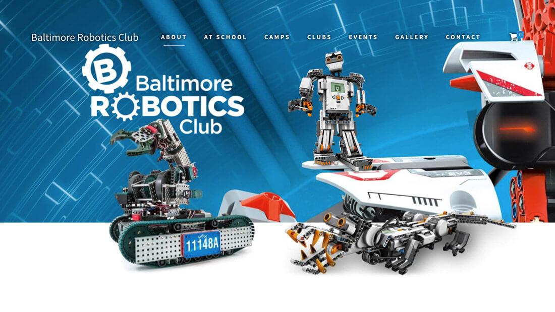 Baltimore Robotics Club website design   Web Design Baltimore, MD