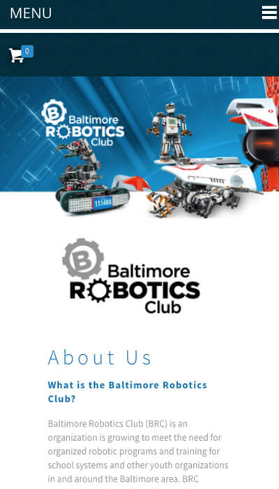 Baltimore Robotics Club mobile website design | Web Design Baltimore, MD