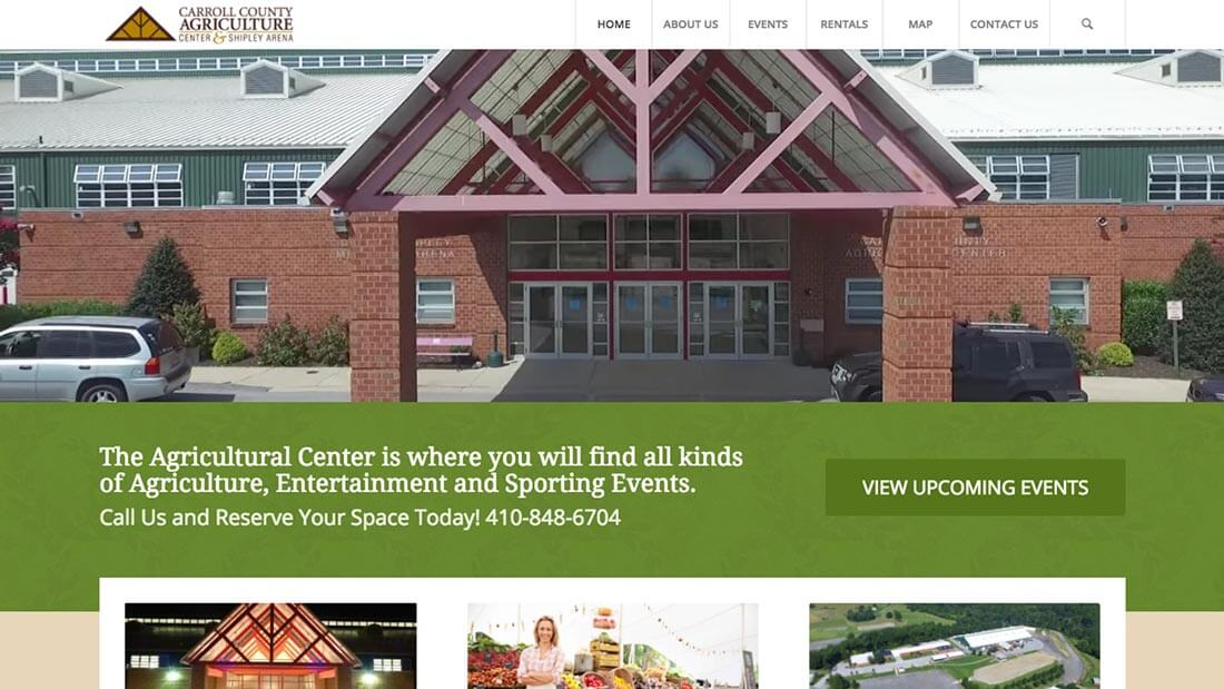 Carroll County Agricultural Center website design | Web Design Westminster, MD