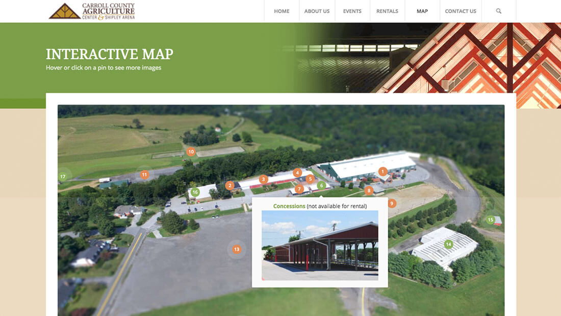 Carroll County Agricultural Center interactive map web development and website design | Web Design Westminster, MD