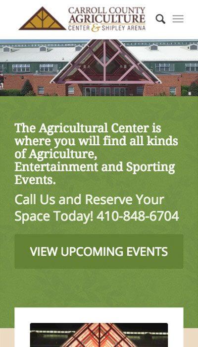 Carroll County Agricultural Center mobile website design | Web Design Westminster, MD