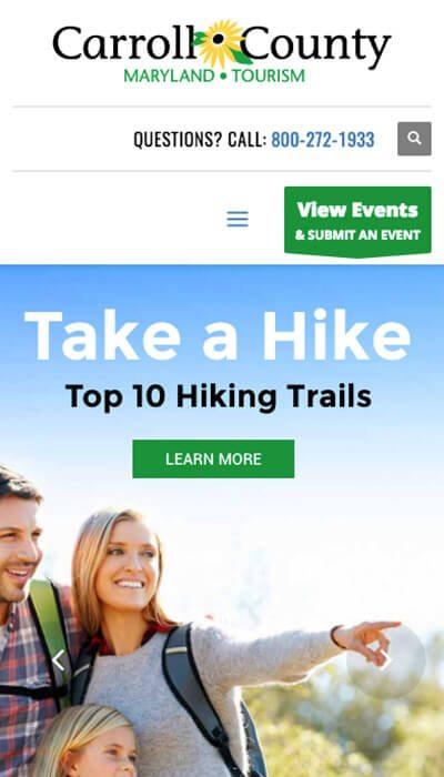 Carroll County Tourism mobile website design | Web Design Westminster, MD