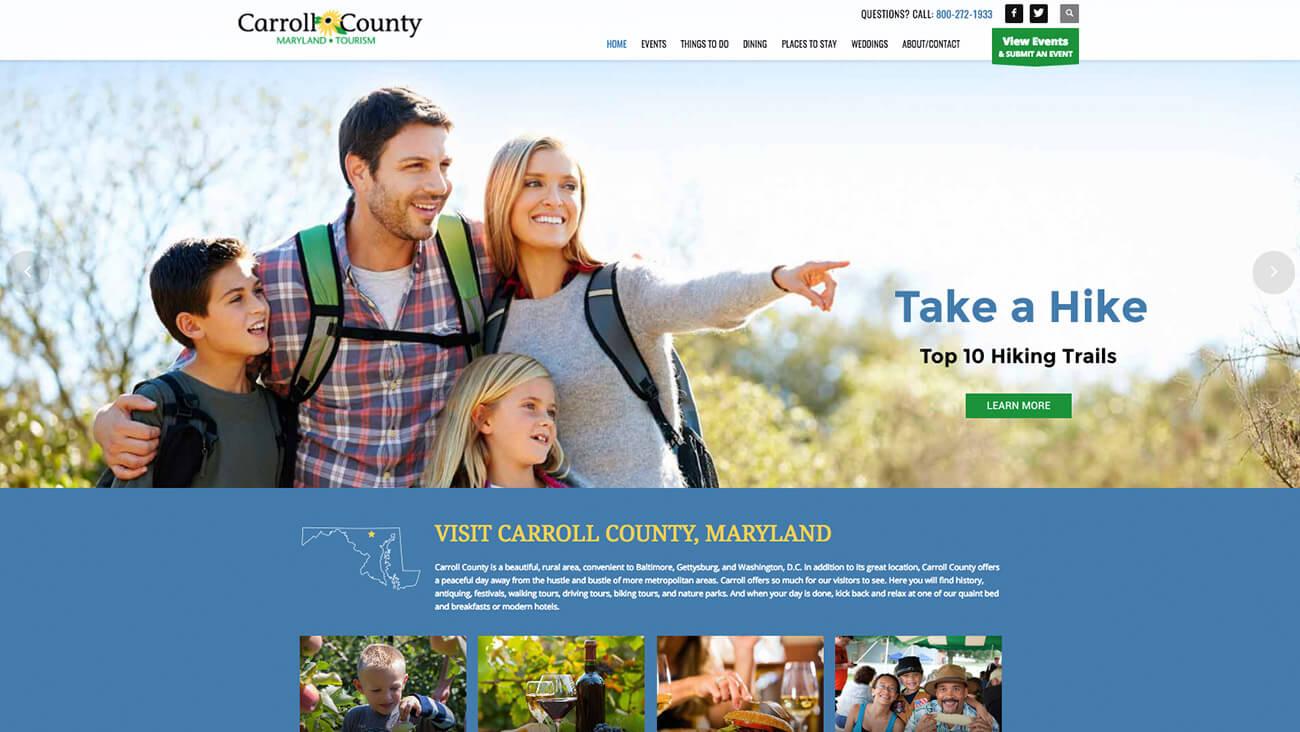 Carroll County Tourism website design | Web Design Westminster, MD