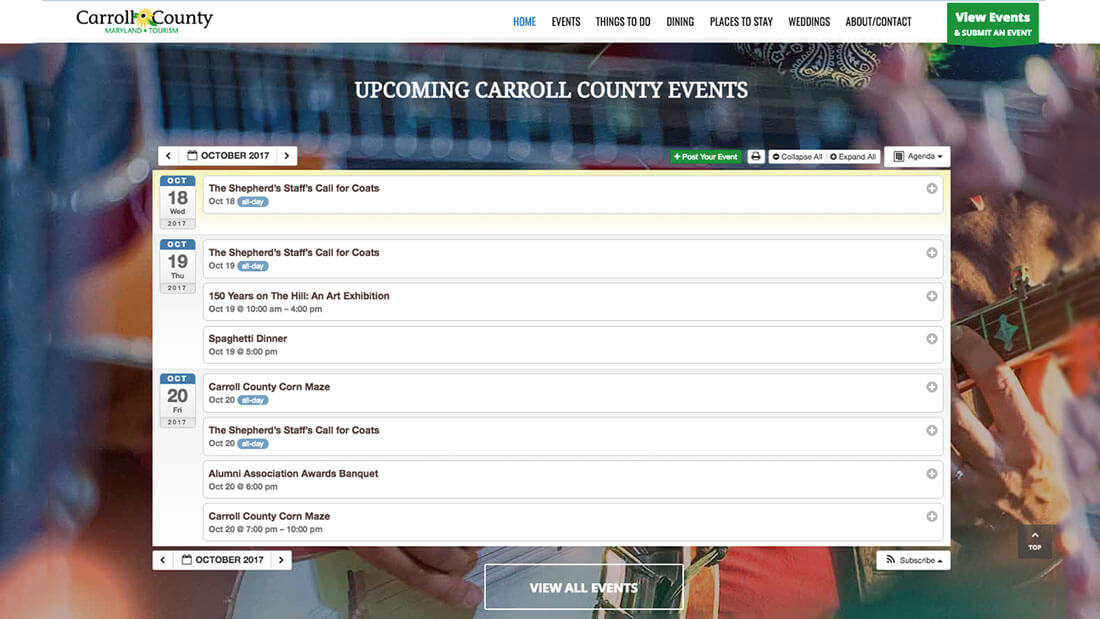 Carroll County Tourism online calendar web development | Web Design Westminster, MD