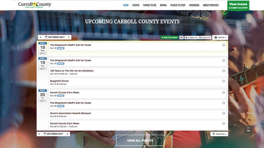 Carroll County Tourism online calendar web development | Web Design Westminster, MD