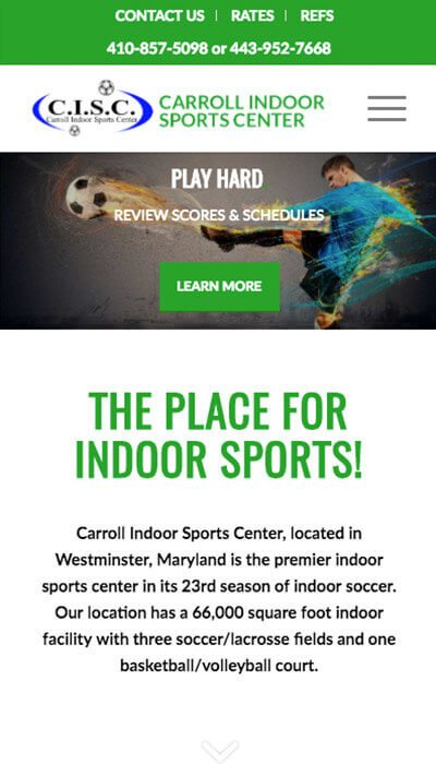 carroll indoor sports center mobile webpage