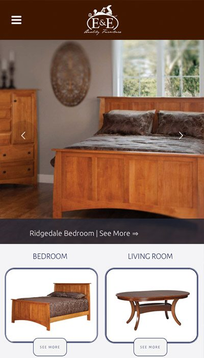 E&E Quality Furniture mobile website design | Web Design Westminster, Maryland