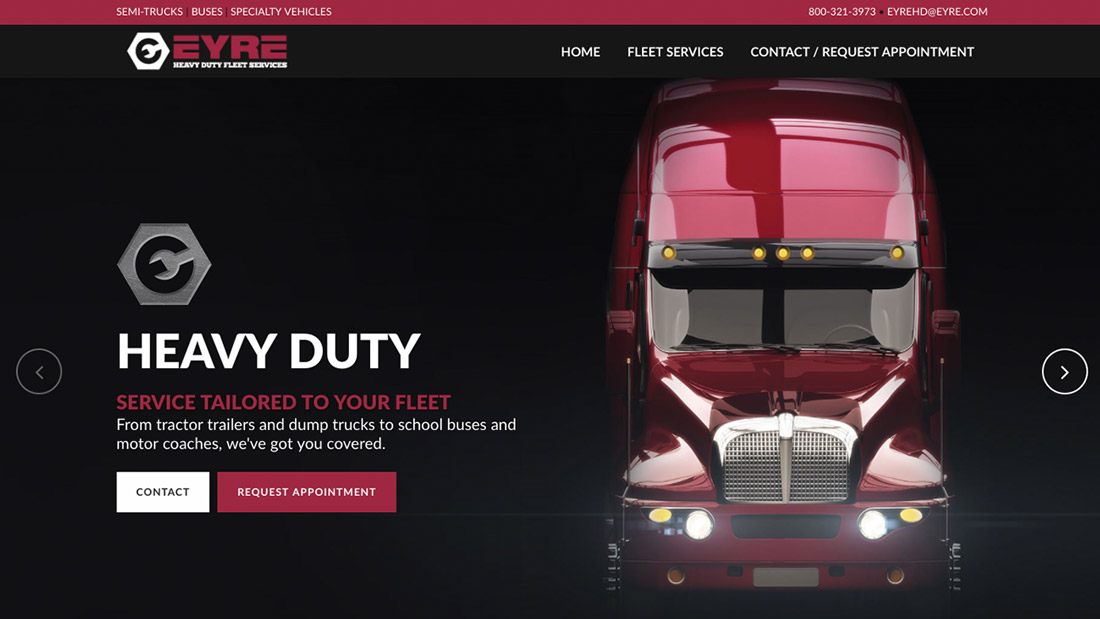 Eyre Heavy Duty website design | Web Design Maryland