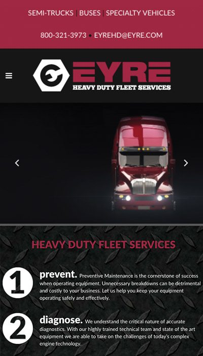 Eyre Heavy Duty mobile website design | Web Design Maryland