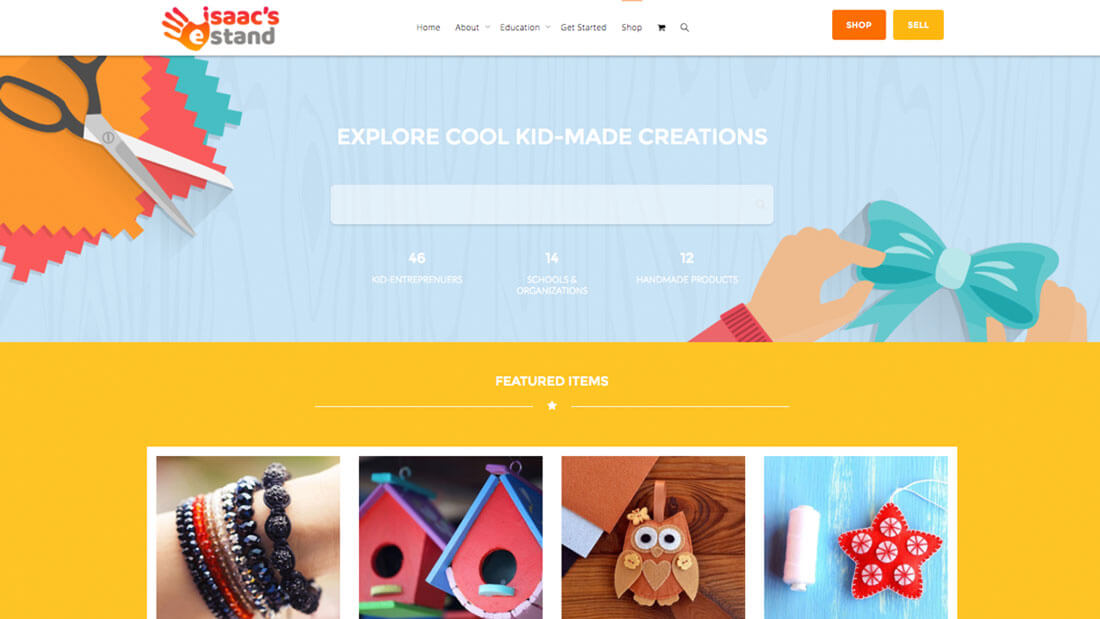 Isacc's eStand online store web development | Web Design Maryland