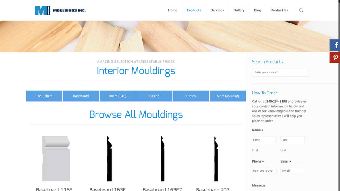 Mouldings Inc online store web development | Web Design Maryland