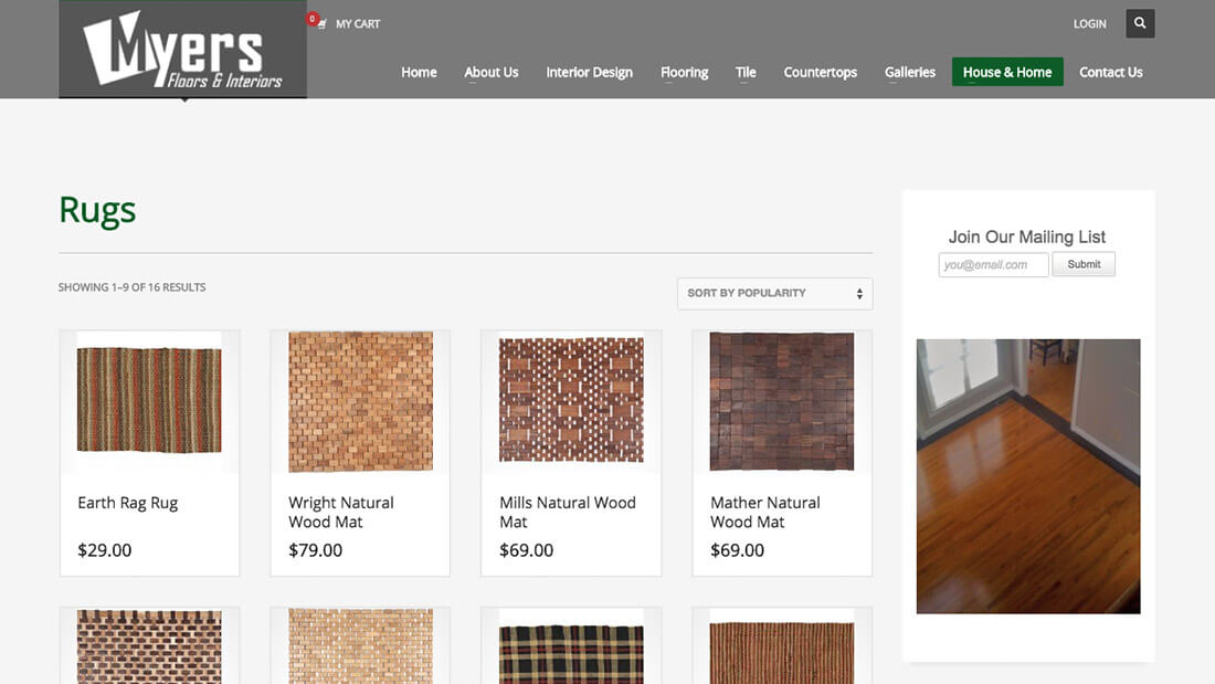 Myers Floors online store website development | Web Design Maryland