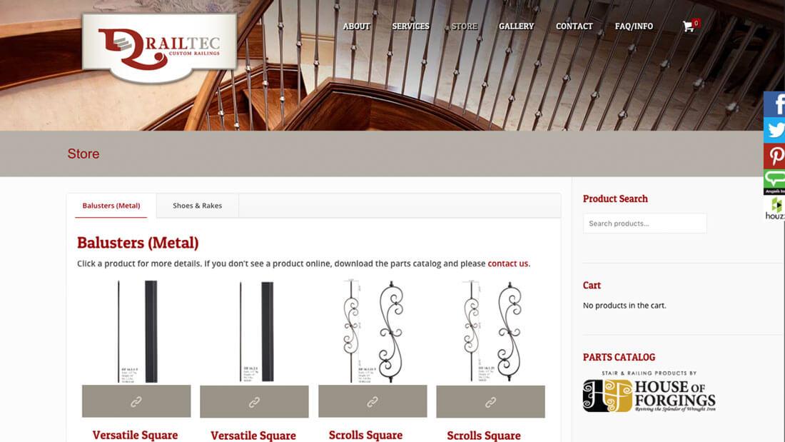 Railtec online store web development | Web Design Maryland
