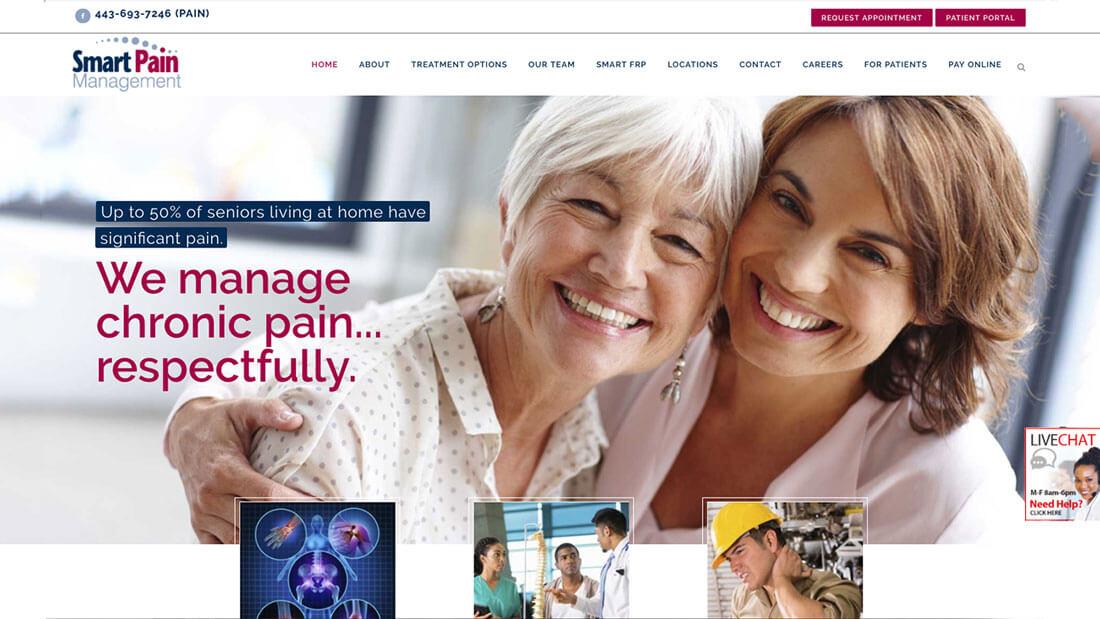 Smart Pain Management website design   Baltimore Web Design