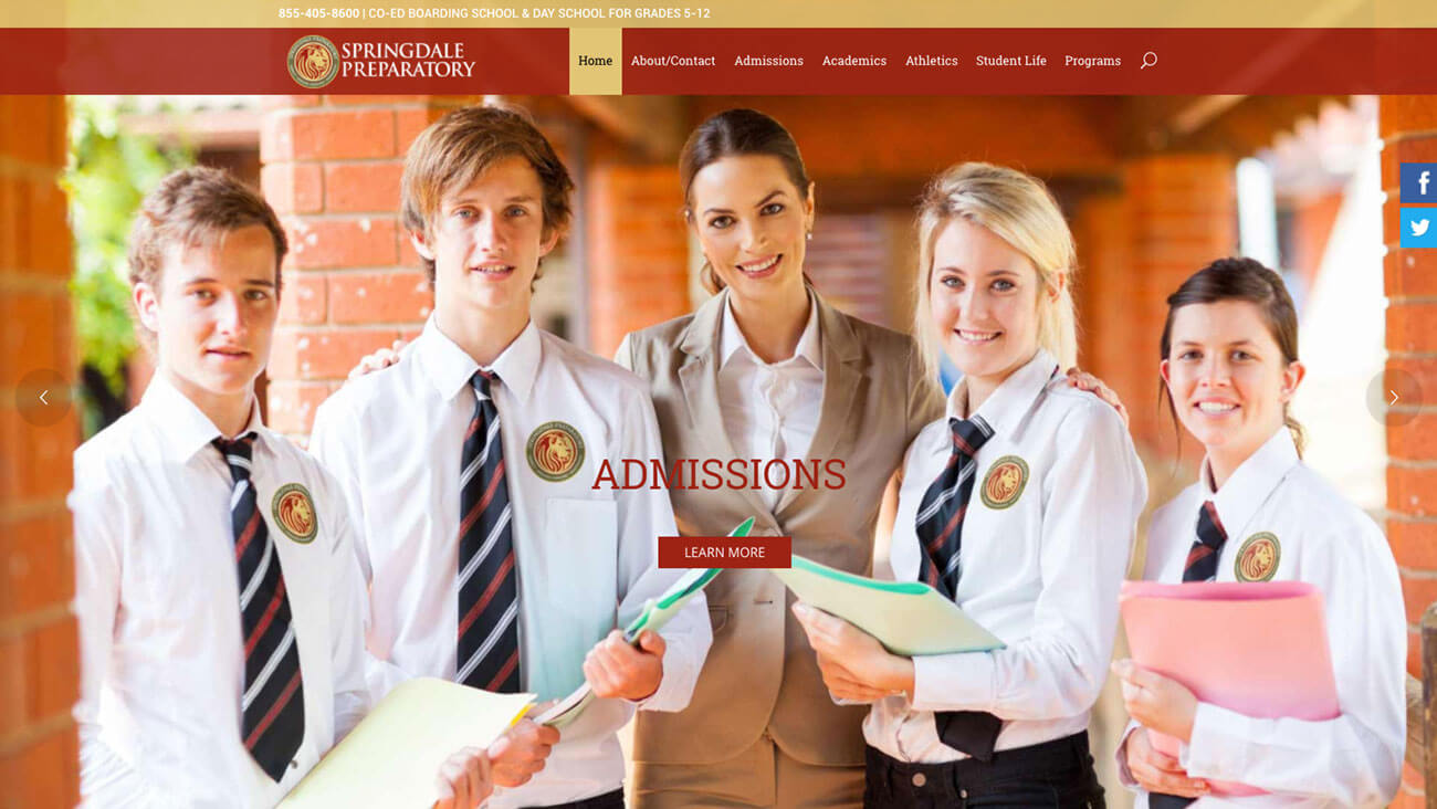 Springdale Preparatory School web design | Web Design Westminster, MD