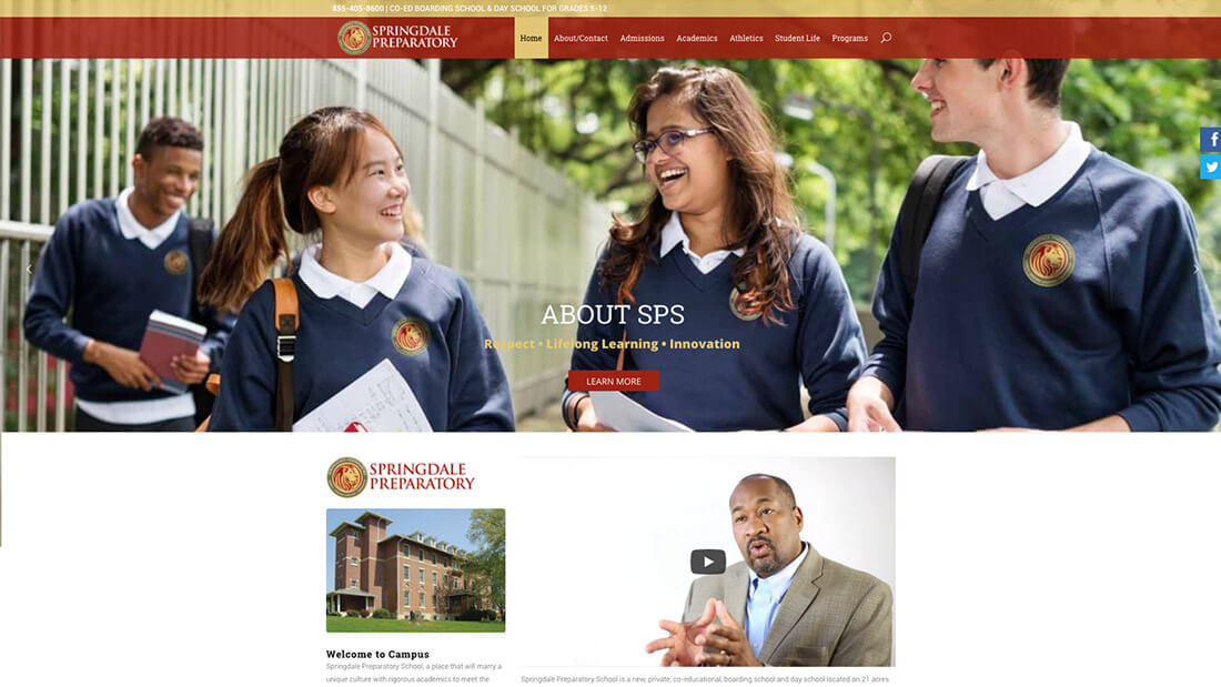 Springdale Preparatory School website design | Web Design Westminster, MD