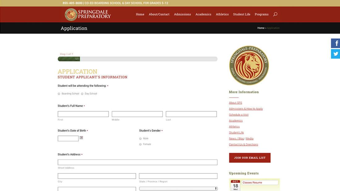 Springdale Preparatory School online application web development and website design | Web Design Westminster, MD