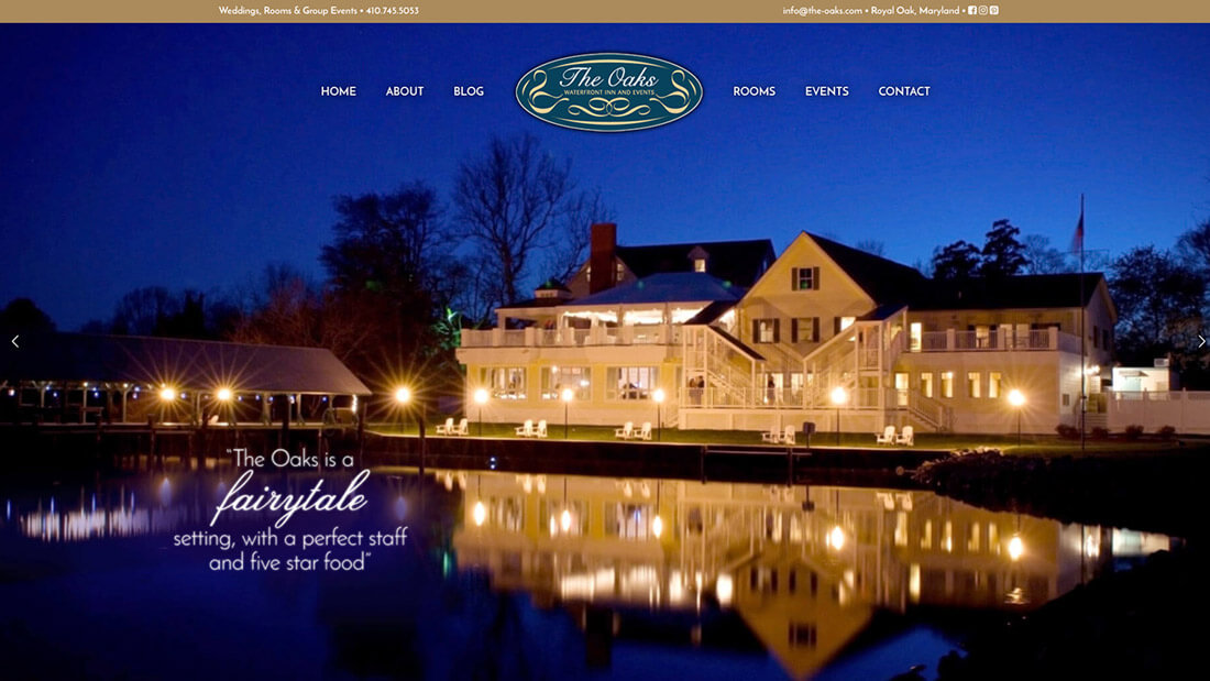 The Oaks website design | Web Design Maryland
