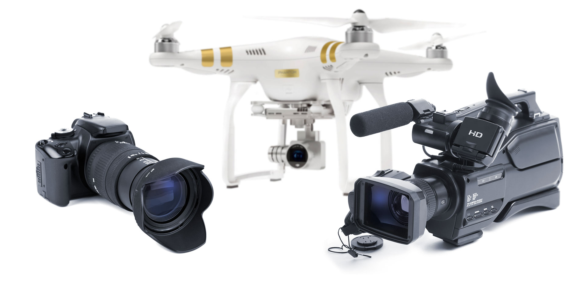 a Canon camera, HD Video Camera and a top of the line Drone