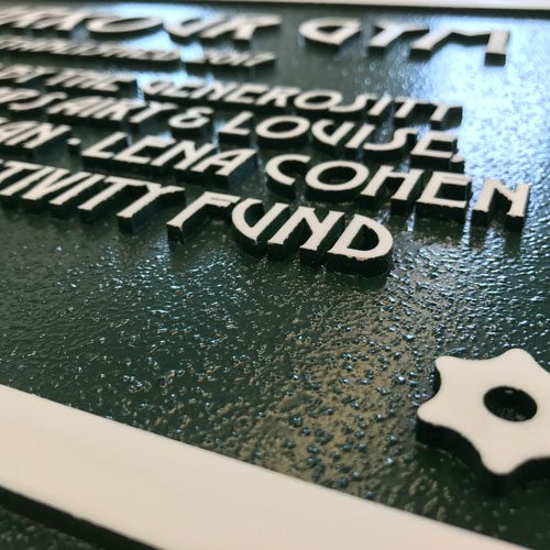 close up detail of plaque display
