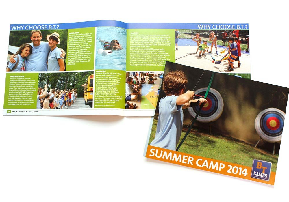 Booklet graphic design for camp | Beth Tfiloh Summer Camp