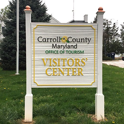 carroll county maryland office of tourism visitors' center display sign