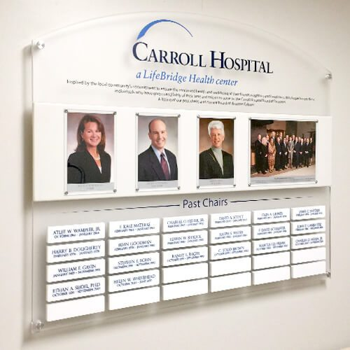 carroll hospital chair members display on wall