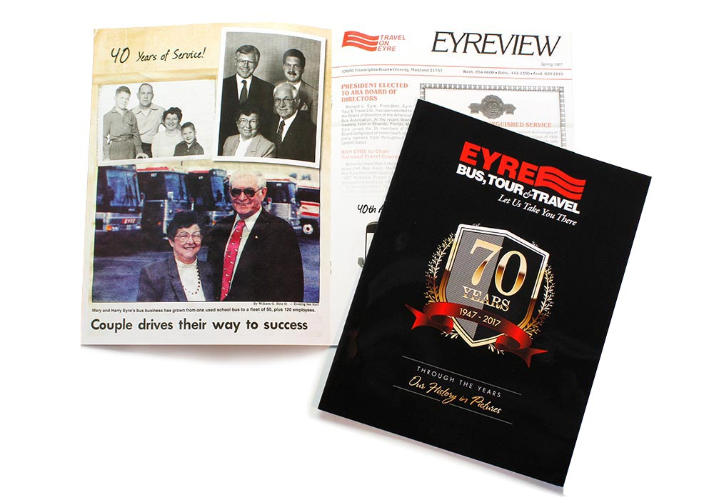 Publications Design for Company Announcement & High Gloss Printing Example | Eyre Bus