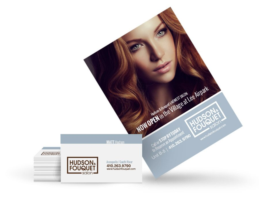 hudson and fouquet salon business card and handout