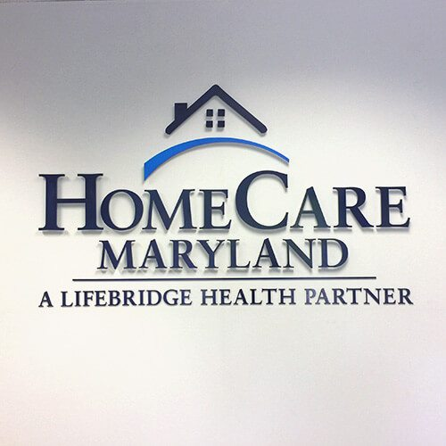 home care maryland logo display on wall