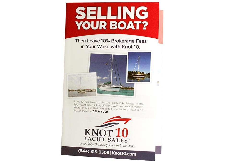 Graphic Design of Flyer for Sales Company and Brochure Printing | Knot 10 Yacht Sales