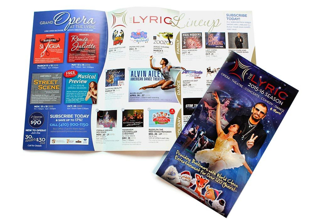 The Modell Lyric brochure design | Baltimore Graphic Design - Kohn Creative - Graphic Designer