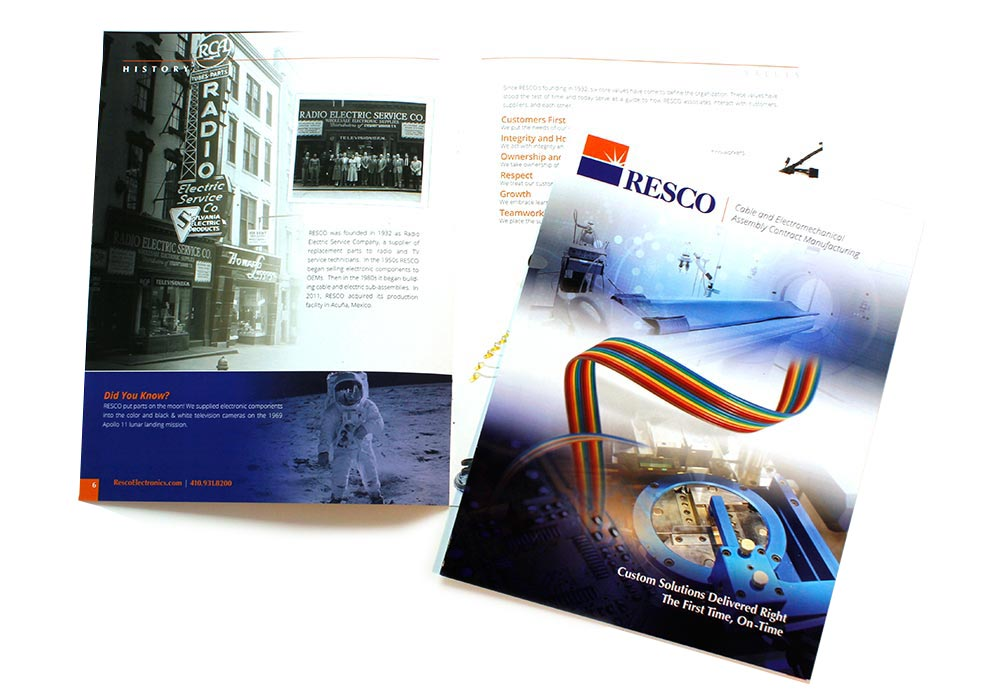 Resco Electronics brochure design | Graphic Design Baltimore Clients