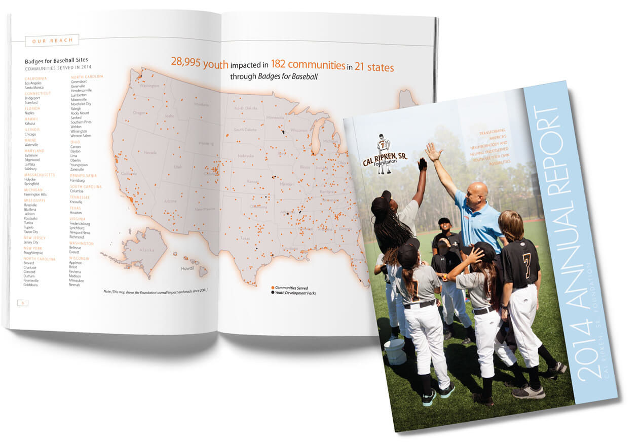 Cal Ripken Sr. Foundation annual report design   Baltimore graphic design