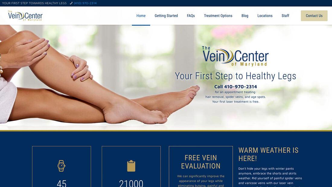 The Vein Center of Maryland website design   Web Design Maryland